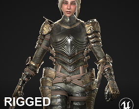 3D asset Female Knight Character