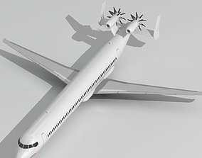 3D model Jet with tail open rotor turbines
