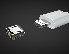 Micro USB Male and Female Connector 3D