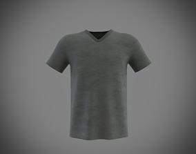 v-neck short sleeve t-shirt 3D model