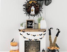 Halloween decor set 3D model low-poly