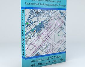3D Barcelona El Prat BCN Airport Roads Buildings and 1