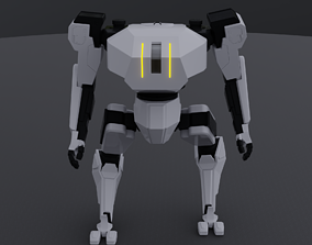 Military Combat Mech Fully Rigged 3D model animated