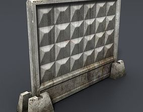 3D asset game-ready Concrete fence section