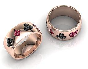 3D print model Poker Band Ring Pave