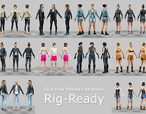 3D asset 10 A-Pose Rig Ready Female Characters