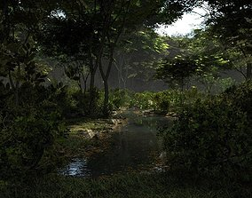 Shady brook in Blender 3D model
