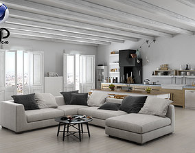 3D Living Room and Kitchen C4D Vray