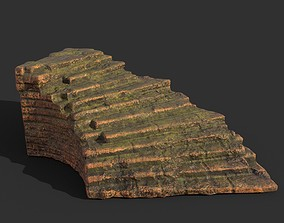 Low poly Terracotta Ruin Medieval Construction 13 3D asset