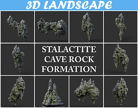 Low poly Stalactite Cave Rock Modular Pack C2 3D asset