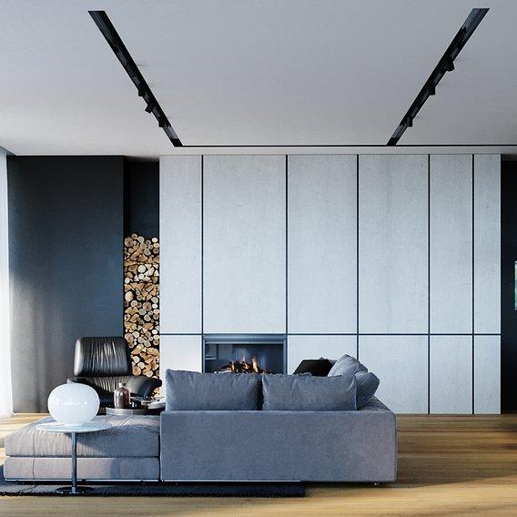 villa in jungle - living room renders