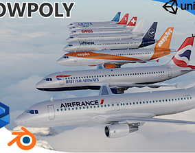 3D asset low-poly PACK Airbus A320-200 multi Livery