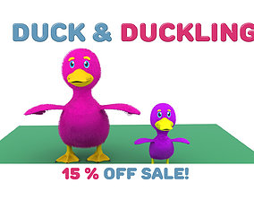 rigged Cartoon Cute Duck Family Rigged 3D