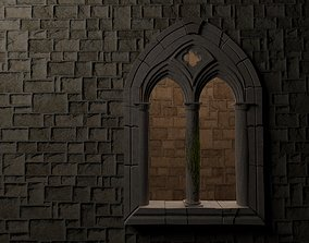 3D model Medieval mullioned window