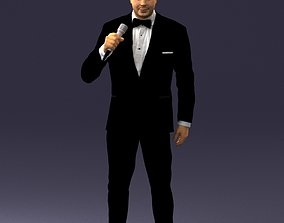 Man with a microphone in his hand 0288 3D model