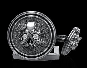 skull cufflinks 3D print model silver