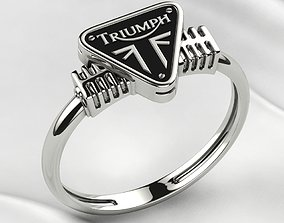 3D print model Triumph Logo Silver or Gold Ring with 1