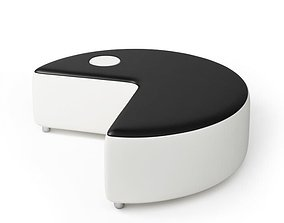 3D model White And Black Pacman Sofa With Wheels