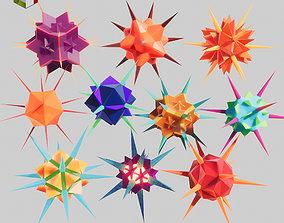 3D model Low Poly Virus Pack 02