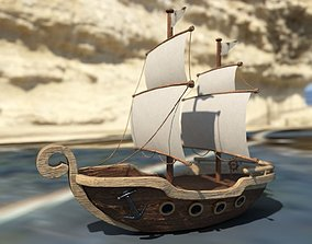 3D model Ship with sails