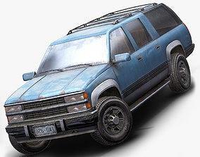 3D asset PBR Old Suv car low poly