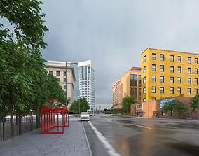 3D model animated Bus Simulation City Traffic
