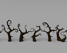 3D model low-poly Low Poly Spooky Tree Pack toon