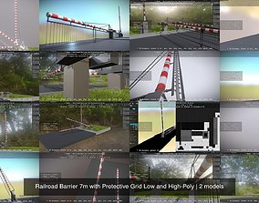 Railroad Barrier 7m with Protective Grid Low 3D model 1