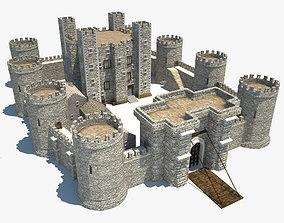 Medieval Castle fantasy 3D model low-poly