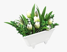 Tulips in bathtub composition 3D