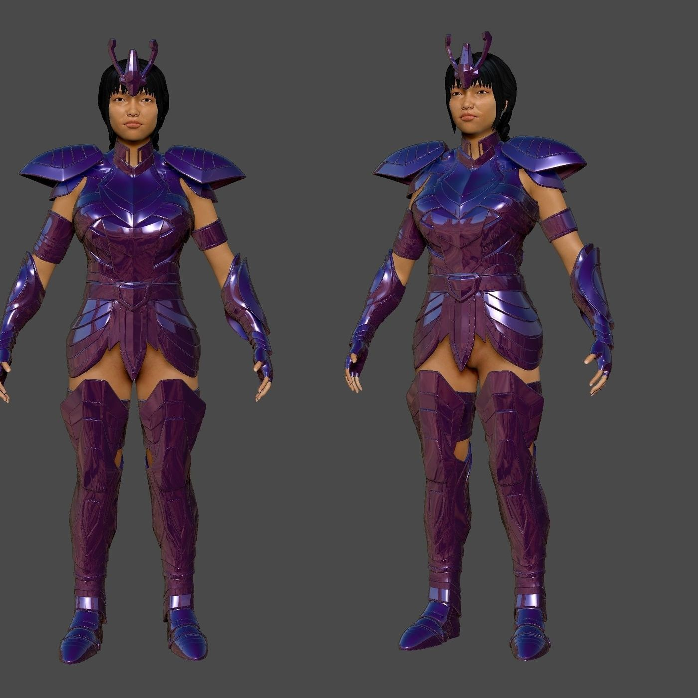 3D printable armored Lady warriors