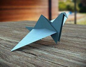 Origami Crane 3D asset game-ready
