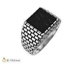 3D printable model N093 Men ring with bricks texture