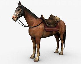 stallion Horse with saddle 3D model