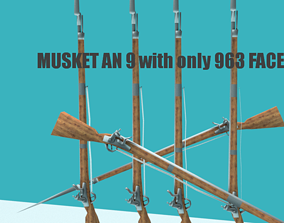 3D model FRENCH MUSKET Low Poly