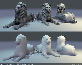 3D model Lion Statue Low Poly