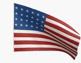 The Old Glory Flag 1822 3D asset animated