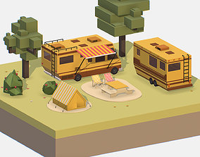yellow tourist van on halt in meadow 3D model