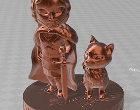 Jon Snow and ghost chibi version 3D printable model