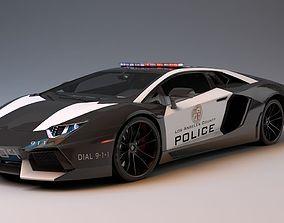 Lamborghini Aventador LA Police 3D model game-ready