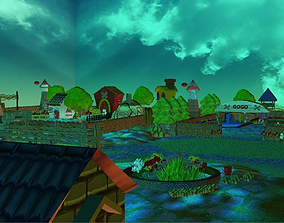 Cartoon Background Design 3D model