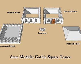 6mm or 8mm Modular Gothic Square Tower 3D printable model