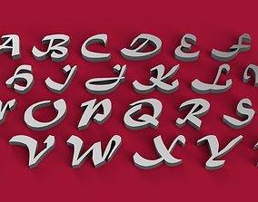 MATURA font uppercase 3D letters STL file