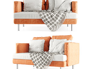 Double sofa with plaid 3D model