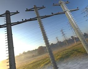 Steel power pole with ladder - Objekt 068 3D model