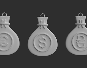 Keychain bag with currency emblem 3D printable model