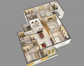 3D Model Detailed House Interior 2