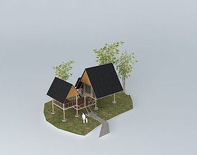 3D model chairlift Small vacation cottage