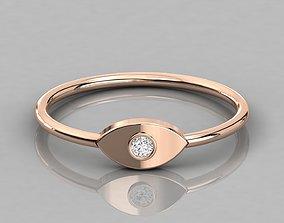Single diamond Women solitaire ring 3dm stl render