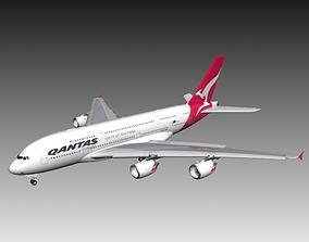 3D model Airbus A380 Qantas aircraft